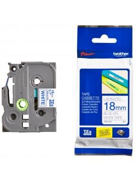 ( TZ243 ) Brother 18mm x 8m Gloss Blue On White Tape Cassette