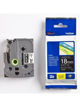 ( TZ345 )Brother 18mm x 8m Gloss White On Black Tape Cassette
